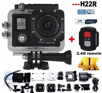 Экшен-камера GoPlus Cam H22R {2 экрана, 4K 30FPS, Wi-Fi, стабилизация} с пультом-браслетом и набором