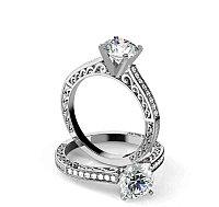 Винтажный стиль Золотое кольцо c центральным бриллиантом от 0,45Ct, фото 1