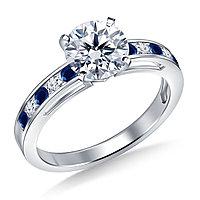 Золотое кольцо c центральным бриллиантом от 0,35Ct и сапфирами , фото 1