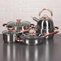 Набор посуды 'Злата 2', 5 предметов кастрюли 3,6/6,1 л, ковш 2,5 л, чайник 2,5 л, сотейник с антипригарным покрытием 24 см, капсулированное дно