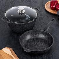 Набор кухонной посуды 'Мраморная 6', антипригарное покрытие, цвет тёмный мрамор