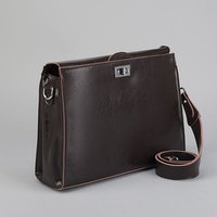 Портфель на замке, наружный карман, длинный ремень, цвет коричневый