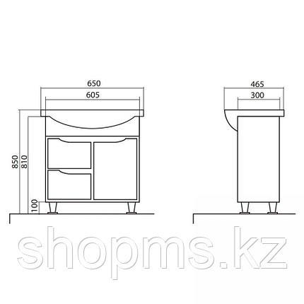 Мебель AQUARODOS Родорс 65 - шкаф под умывальник в комплекте с умывальником 219500U NOVA 65, фото 2