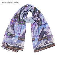 Палантин текстильный, размер 90х180, цвет голубой PC3115_V1