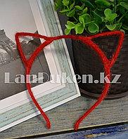 Ободок для тематических праздников кошачьи ушки (красные)