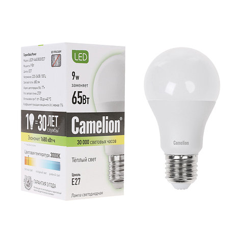 Лампа светодиодная Camelion А60/3000К/E27/9Вт, Тёплый, фото 2