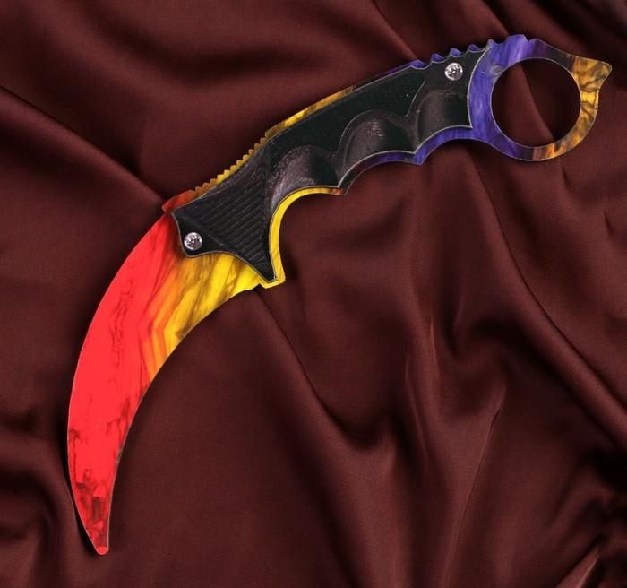 Деревянный Нож CS-GO Керамбит цветной - Мраморный градиент (20 см.)