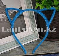 Ободок для тематических праздников кошачьи ушки (синий)