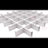 Грильято потолок 100x100 (Белый) Сталь