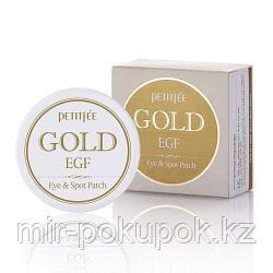 Антивозрастные гидрогелевые патчи от морщин вокруг глаз Petitfee Premium Gold egf eye patch
