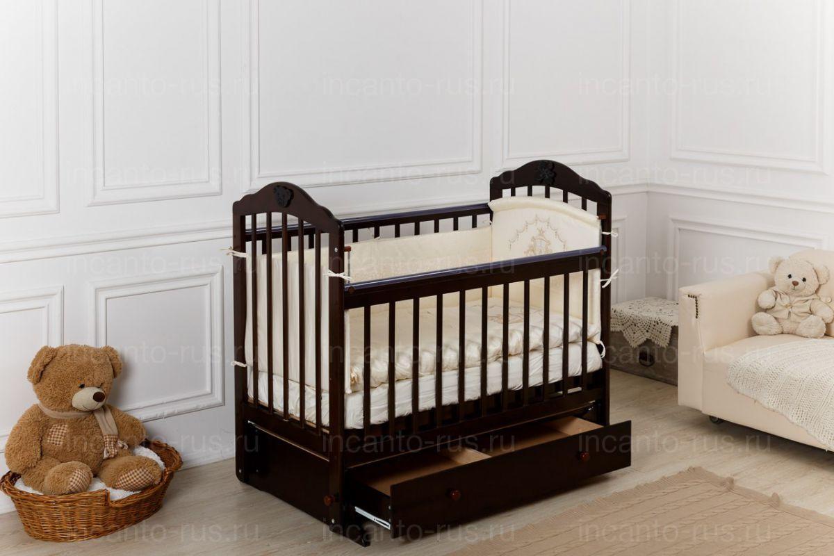 Кровать детская Incanto Pali маятник поперечный, венге с мишкой