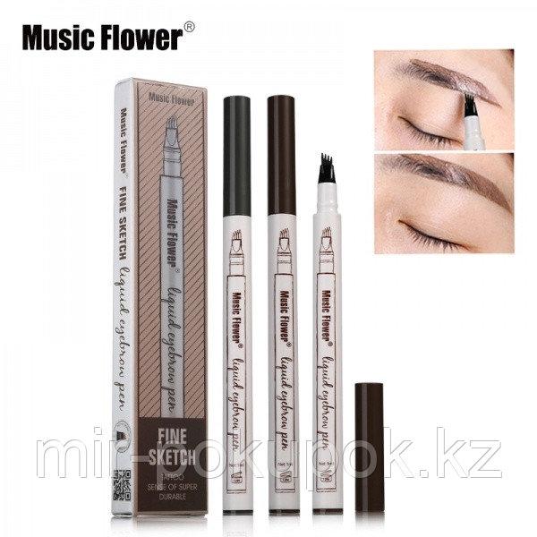 Маркер для бровей с эффектом татуажа Music Flower liquid eyebrow pen (фломастер для бровей), Алматы
