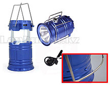 Ручной светодиодный фонарь 2 в 1 синий  с USB выходом (17 см) (уценка)