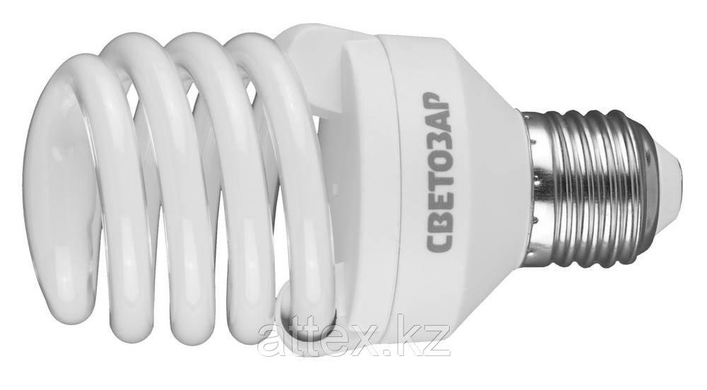 "Энергосберегающая лампа СВЕТОЗАР ""КОМПАКТ"" спираль,цоколь E27(стандарт),Т2,теплый белый свет(2700 К),10000час,20Вт(100) 44452-20_z01"