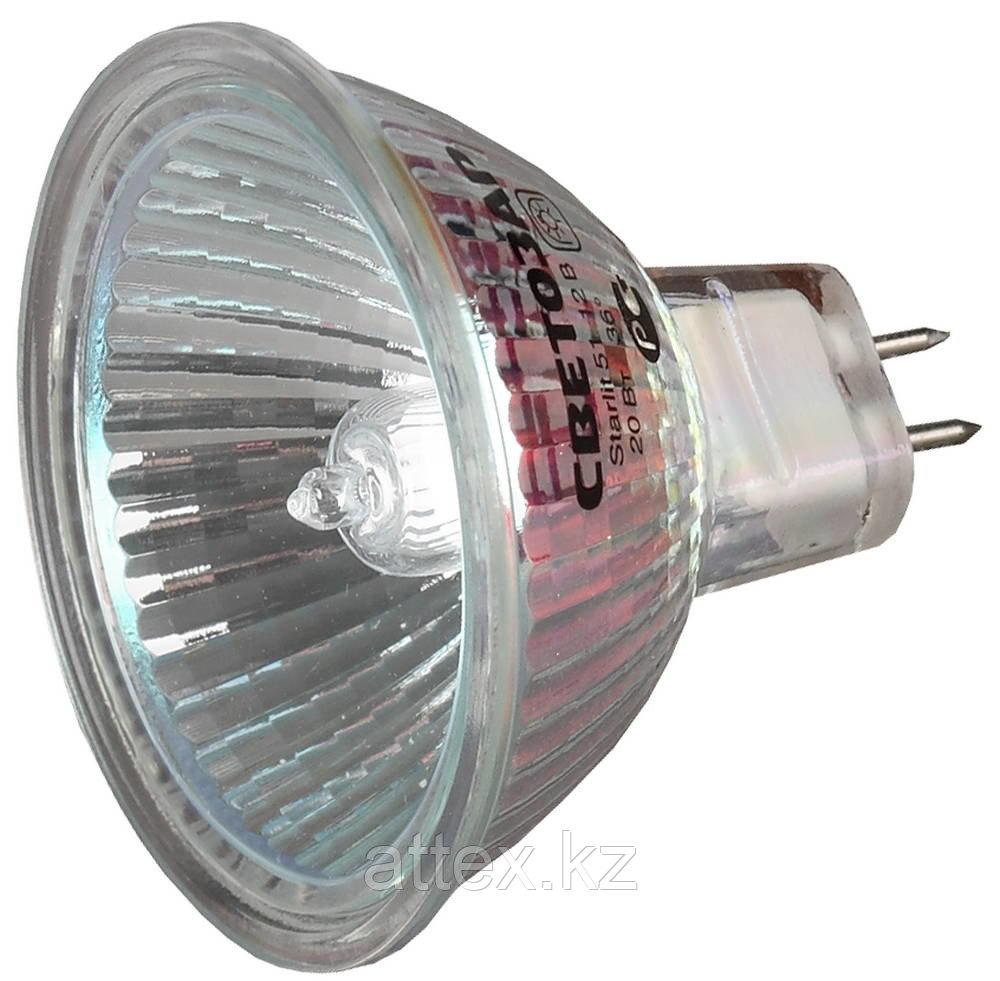 Лампа галогенная СВЕТОЗАР с защитным стеклом, цоколь GU5.3, диаметр 51мм, 35Вт, 12В