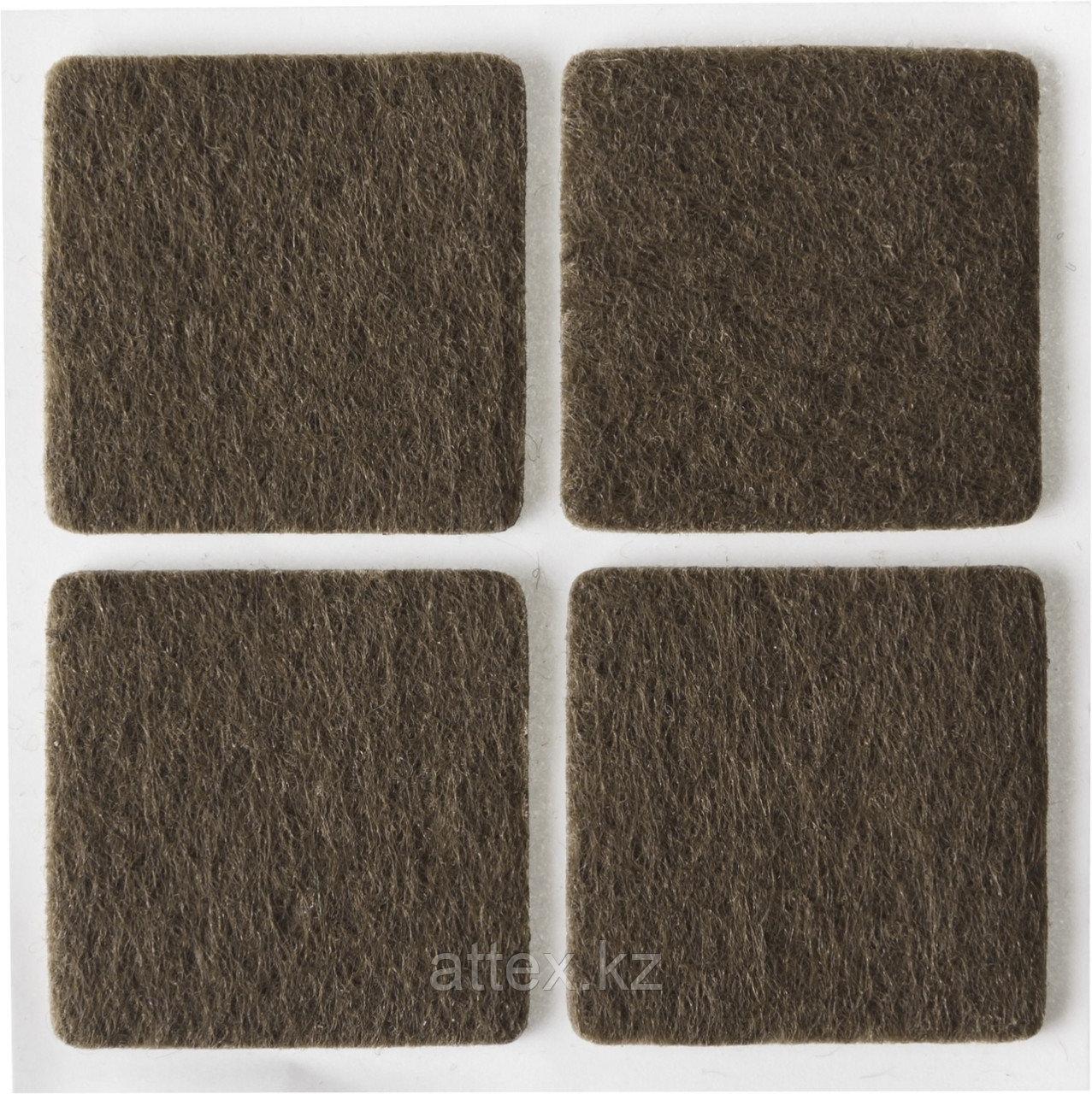 """Накладки STAYER """"COMFORT"""" на мебельные ножки, самоклеящиеся, фетровые, коричневые, квадратные - 25*25 мм, 4 шт 40912-25"""