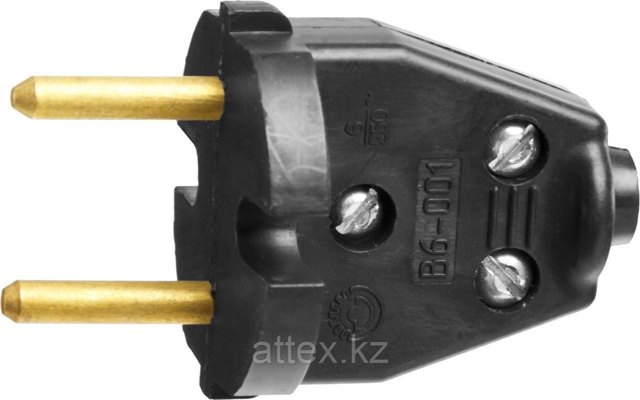 Вилка СИБИН электрическая, разборная, 6А/220В, черная 55152-B