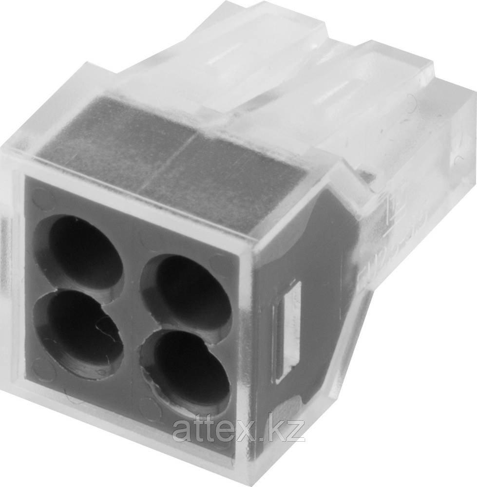 Клемма СВЕТОЗАР соединительная, 4-х проводная, 400В, 24А, 0,75-2,5мм2, 2шт 49170-4