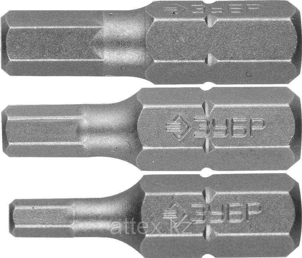"""Набор ЗУБР: Биты кованые, хромомолибденовая сталь, тип хвостовика C 1/4"""", 25мм, HEX3, HEX4, HEX5, 3  26009-HEX-H3"""