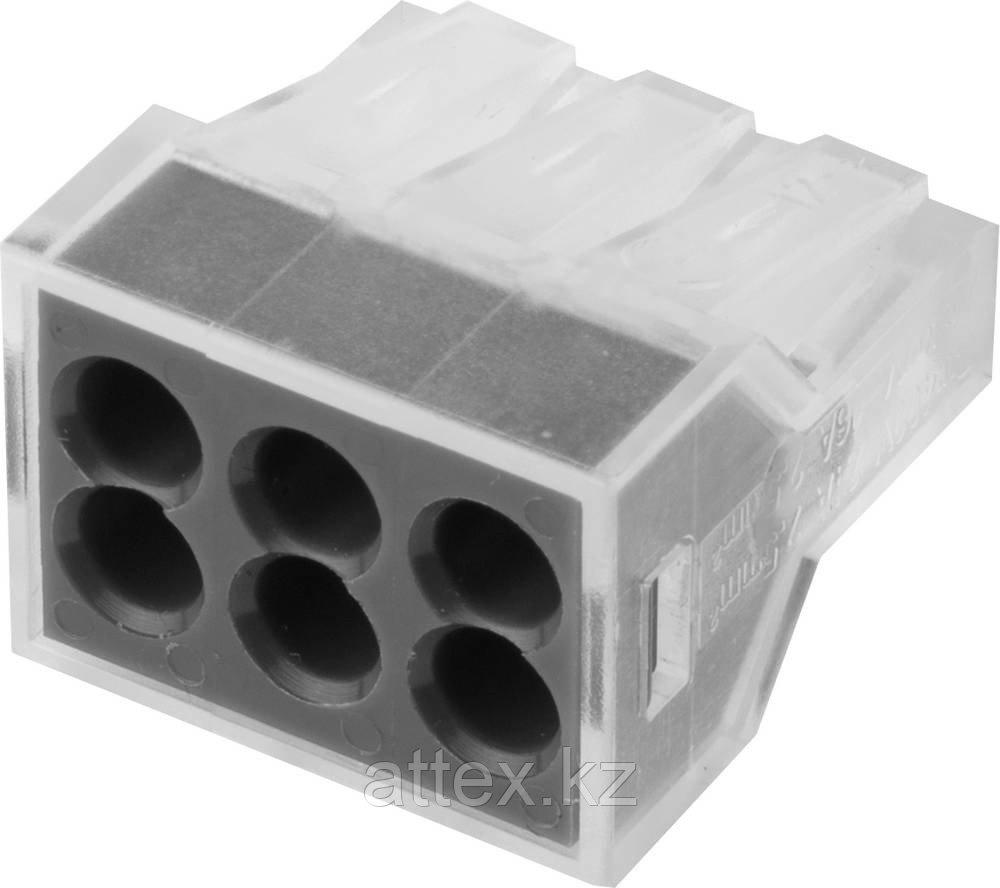 Клемма СВЕТОЗАР соединительная, 6-и проводная, 400В, 24А, 0,75-2,5мм2, 2шт 49170-6