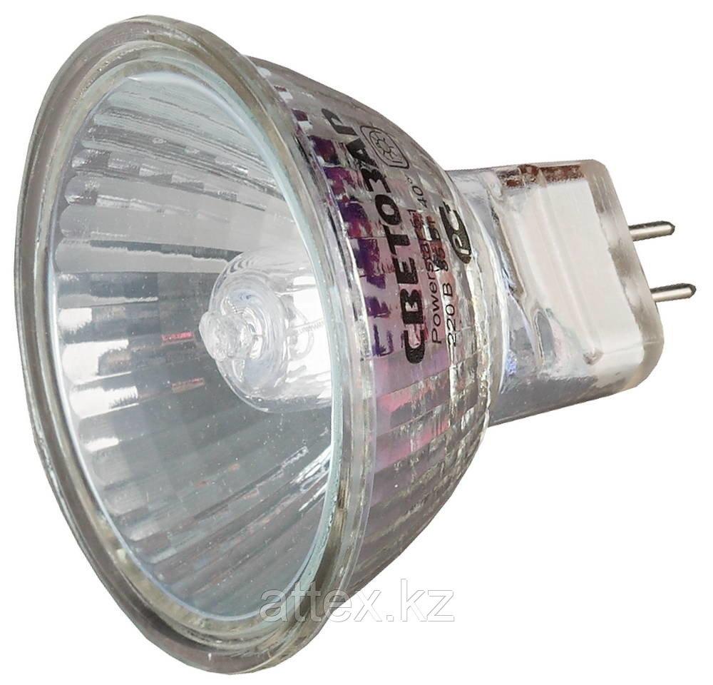 Лампа галогенная СВЕТОЗАР с защитным стеклом, цоколь GU5.3, диаметр 51мм, 50Вт, 220В SV-44815