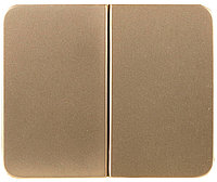 """Выключатель СВЕТОЗАР """"ГАММА""""  двухклавишный, без вставки и рамки, цвет золотой металлик, 10A/~250B SV-54134-GM"""