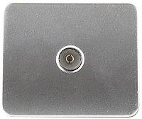 "Розетка СВЕТОЗАР ""ГАММА""  телевизионная, без вставки и рамки, цвет светло-серый металлик SV-54115-SM"