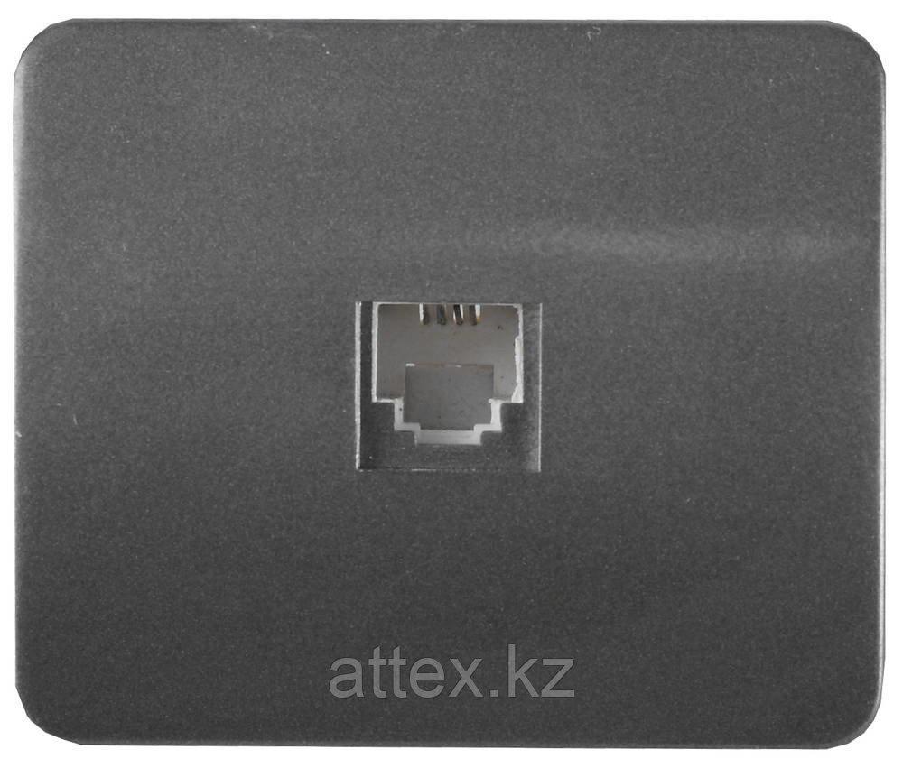"""Розетка СВЕТОЗАР """"ГАММА""""  телефонная, одинарная, без вставки и рамки, цвет темно-серый металлик SV-54117-DM"""