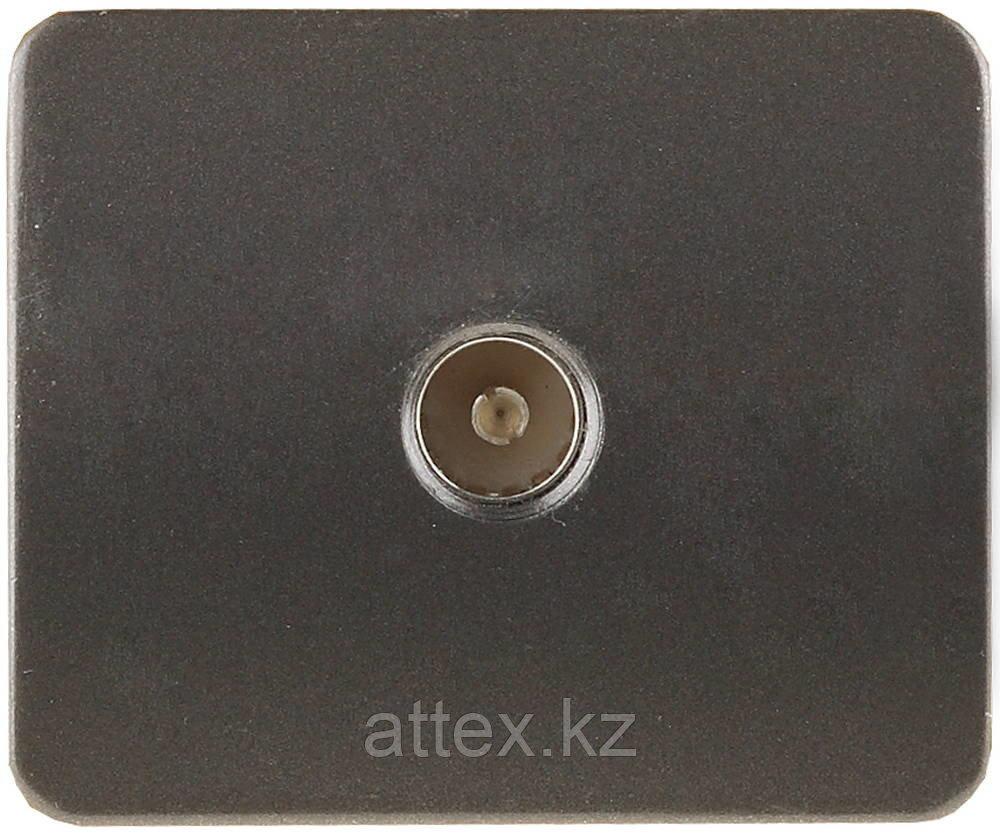 """Розетка СВЕТОЗАР """"ГАММА""""  телевизионная, без вставки и рамки, цвет темно-серый металлик SV-54115-DM"""