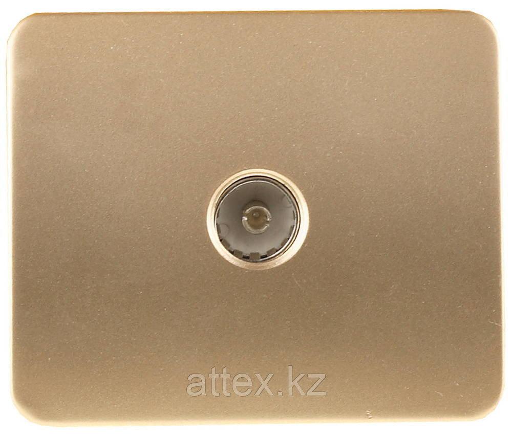 """Розетка СВЕТОЗАР """"ГАММА""""  телевизионная, без вставки и рамки, цвет золотой металлик SV-54115-GM"""