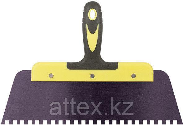 """Шпатель фасадный """"Мастер"""", пружинная колоризованная сталь, двухкомп. ручка, зуб 6х6 мм, 125 мм FIT Р"""
