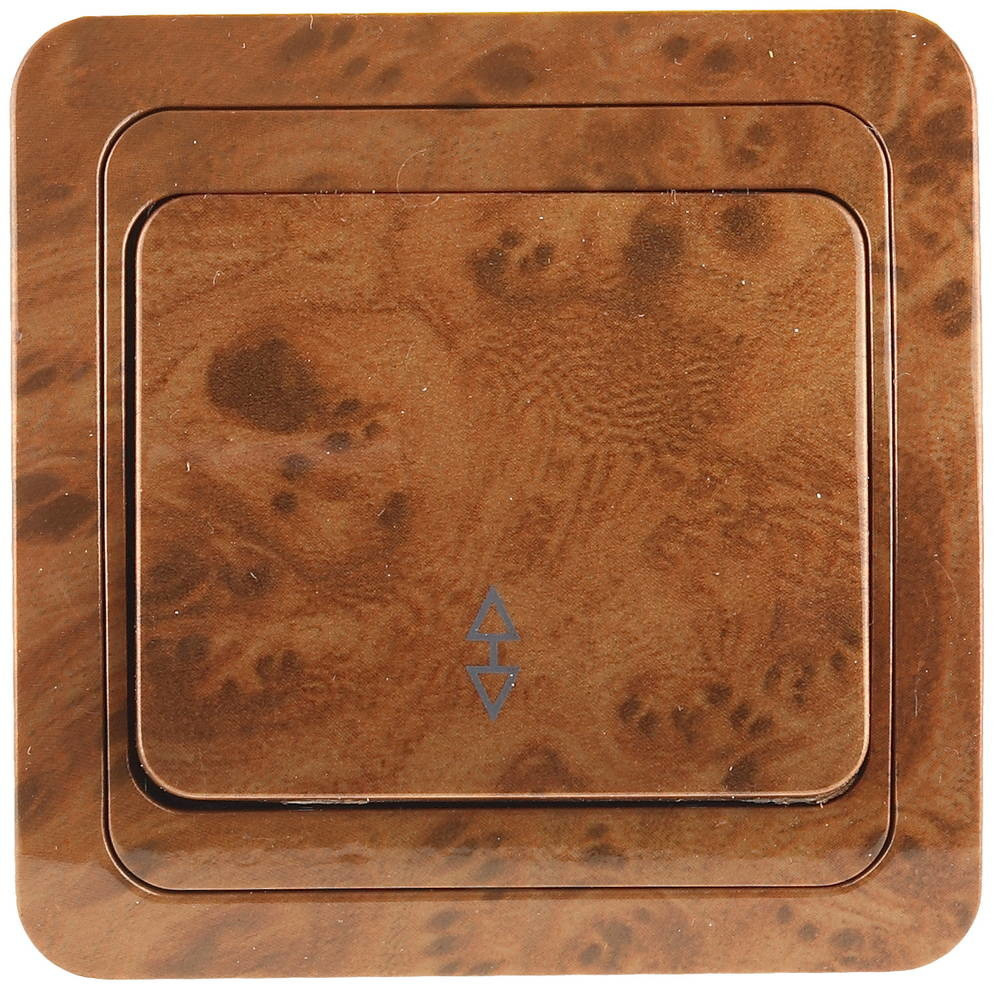 """Выключатель СВЕТОЗАР """"ГАММА"""" проходной, одноклавишный, цвет орех, 10A/~250B SV-54137-N"""