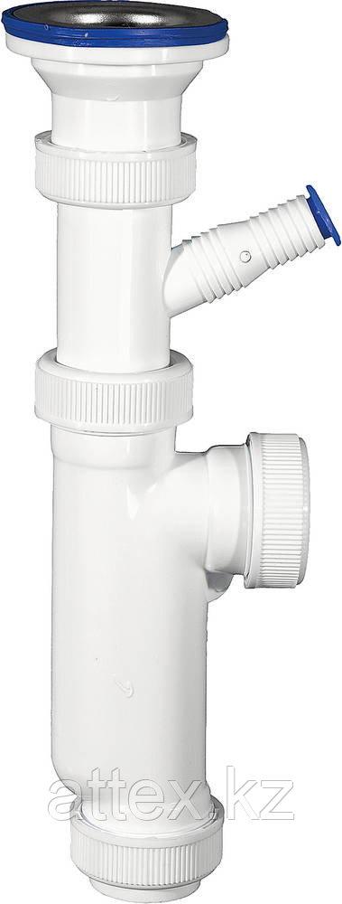"""Сифон ЗУБР """"МАСТЕР"""" колбовый для моек и раковин, выпуск - нержавеющая чашка, отвод для стиральной машины 51857"""