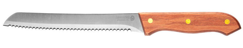 """Нож LEGIONER """"GERMANICA"""" хлебный с деревянной ручкой, нерж лезвие 200мм 47845_z01"""