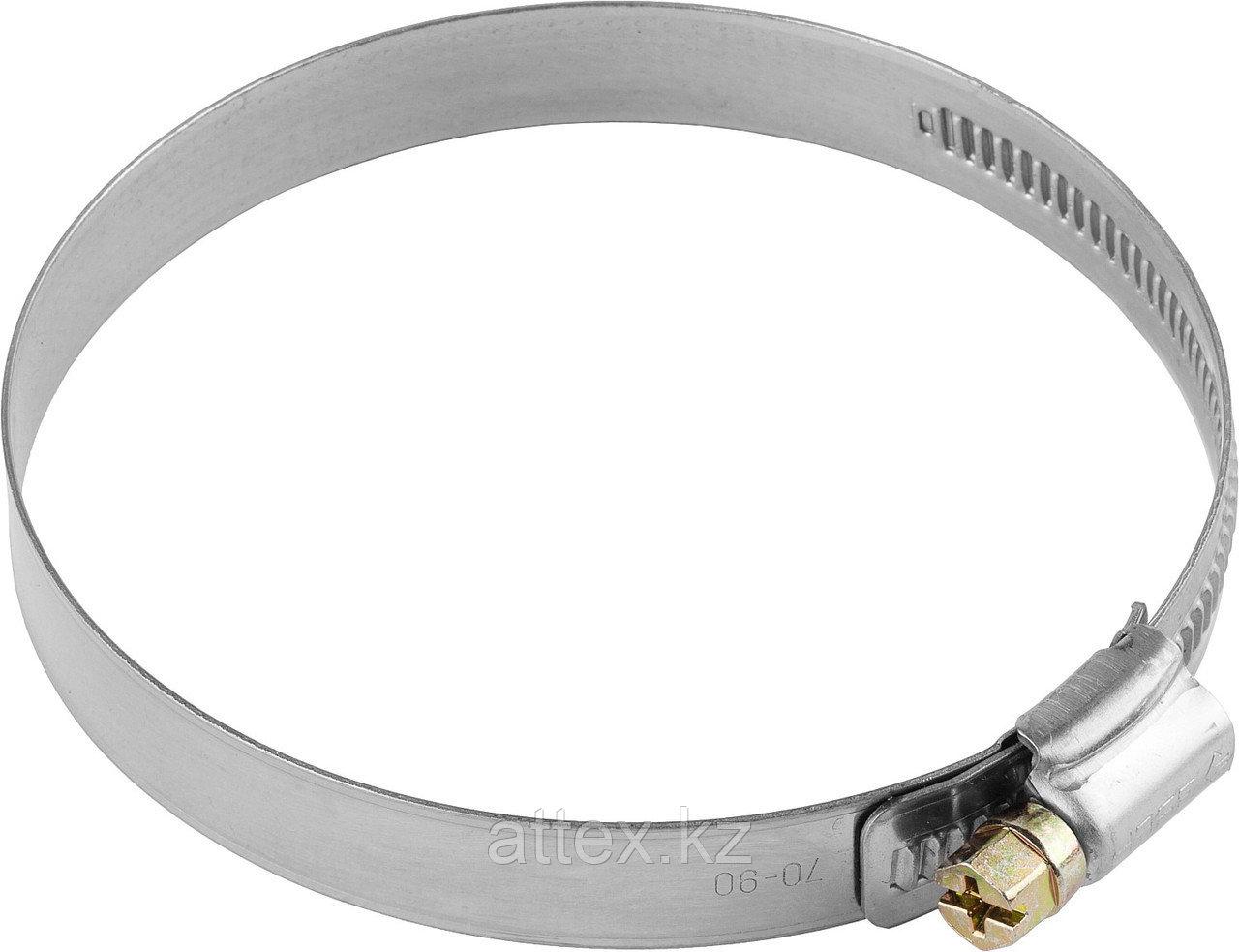 Хомуты, нерж. сталь, накатная лента 12 мм, 80-100 мм, 50 шт, ЗУБР Профессионал 37822-80-100-50