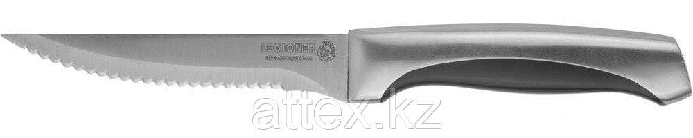 """Нож LEGIONER """"FERRATA"""" для стейка, рукоятка с металлическими вставками, лезвие из нержавеющей стали, 110мм 47946"""