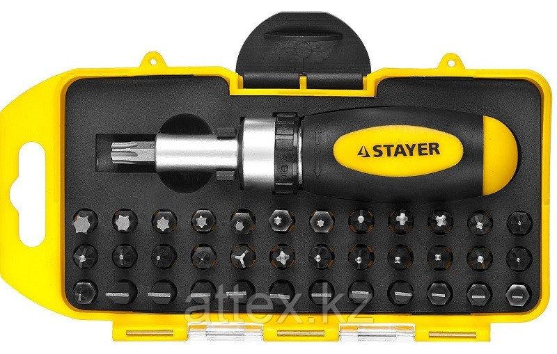 Отвертка реверсивная в наборе с битами, STAYER 2557-H38, Cr-V сталь, 38 предметов