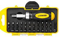 Отвертка реверсивная в наборе с битами, STAYER 2557-H38, Cr-V сталь, 38 предметов, фото 1