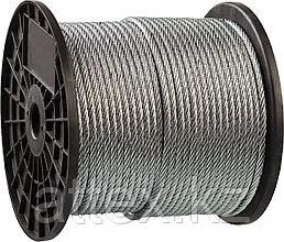 Трос стальной, оцинкованный, DIN 3055, d=4 мм, L=200 м, ЗУБР Профессионал 4-304110-04