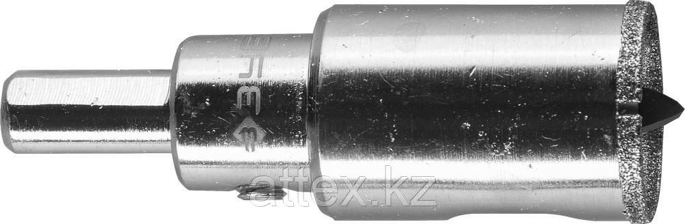Коронка алмазная по кафелю и стеклу, d=22 мм, зерно Р 60, в сборе с центрирующим сверлом и имбусовым ключом, ЗУБР Профессионал 29850-22