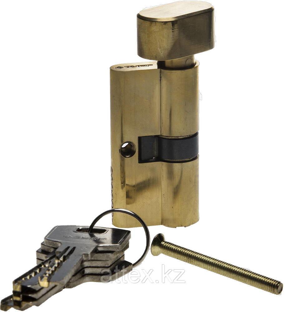 """Механизм ЗУБР """"ЭКСПЕРТ""""цилиндровый, повышенной защищенности, тип """"ключ-защелка"""", цвет латунь, 6-PIN, 70мм 52107-70-1"""