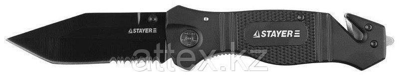 """Нож STAYER """"PROFI"""" складной, металлическая рукоятка, стеколобой, дополнительный резак,лезвие 85мм 47622"""
