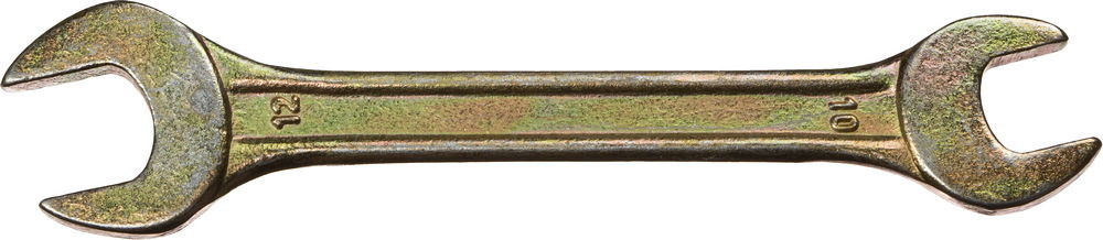 Ключ рожковый гаечный DEXX, желтый цинк, 10х12мм 27018-10-12