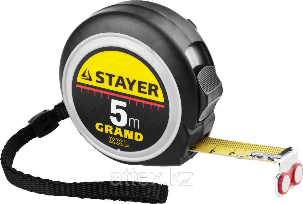 Рулетка STAYER GRAND, корпус с противоскользящим напылением, упрочненное полотно, 5м/19мм 3411-05-19