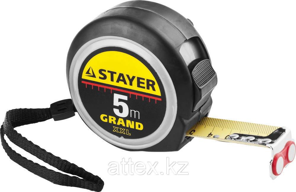 Рулетка STAYER GRAND, корпус с противоскользящим напылением, упрочненное полотно, 5м/25мм 3411-05-25
