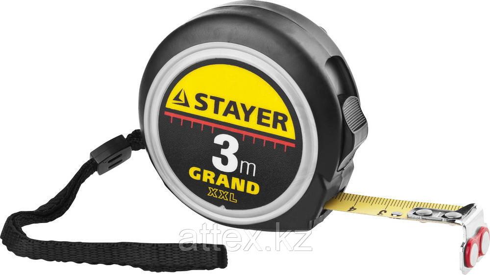 Рулетка STAYER GRAND, корпус с противоскользящим напылением, упрочненное полотно, 3м/16мм 3411-03-16