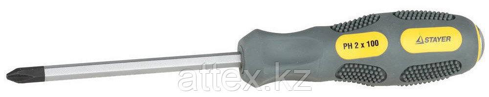 "Отвертка STAYER ""PROFESSIONAL"" ""MAX-GRIP"" ударная, двухкомпонентная рукоятка, магнит наконечник, Cr-V, PH №2x100мм 25824-2-100 G"