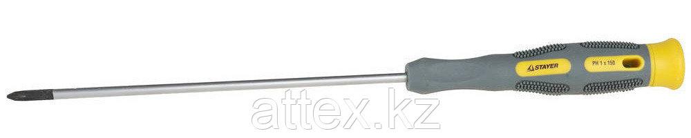 """Отвертка STAYER """"PRECISION"""" MAX-GRIP для точных работ, Cr-V, намагниченный наконечник, PH №1x150мм 25826-1-150 G"""