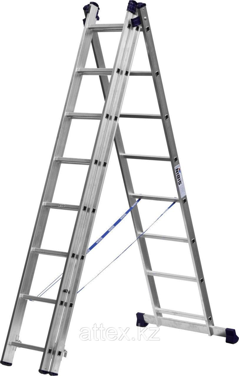 Лестница СИБИН универсальная, трехсекционная со стабилизатором, 8 ступеней 38833-08