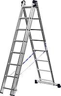 Лестница СИБИН универсальная, трехсекционная со стабилизатором, 8 ступеней 38833-08, фото 1